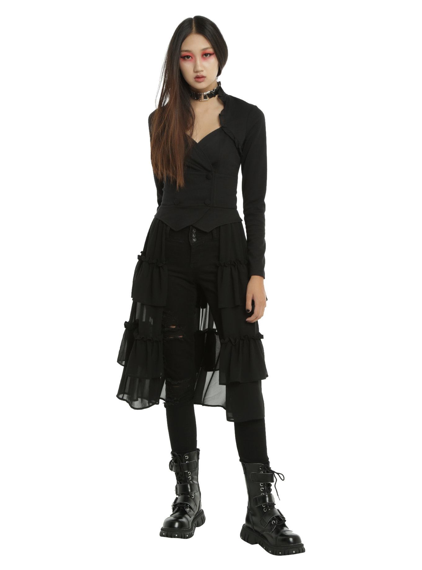 Hot Topic Black Sweetheart Double-Breasted Tiered Ruffle Jacket