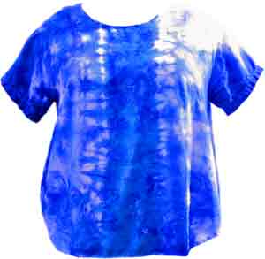 rayon shirt dyed with blue and turquoise vinyl sulfine dye