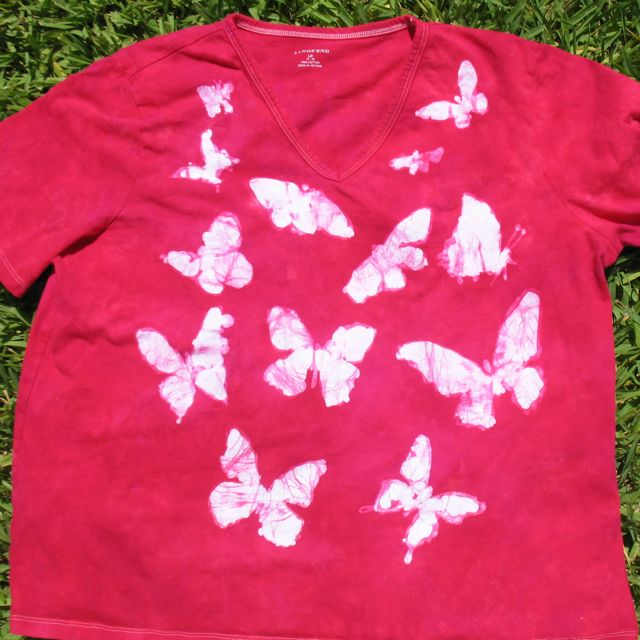 batiked shirt before fabric markers