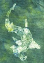scanned detail of hammerhead shark batik on cotton